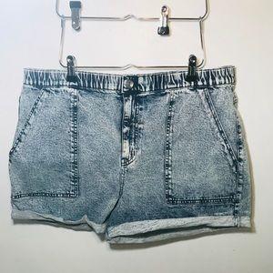 Acid wash high rise shorts